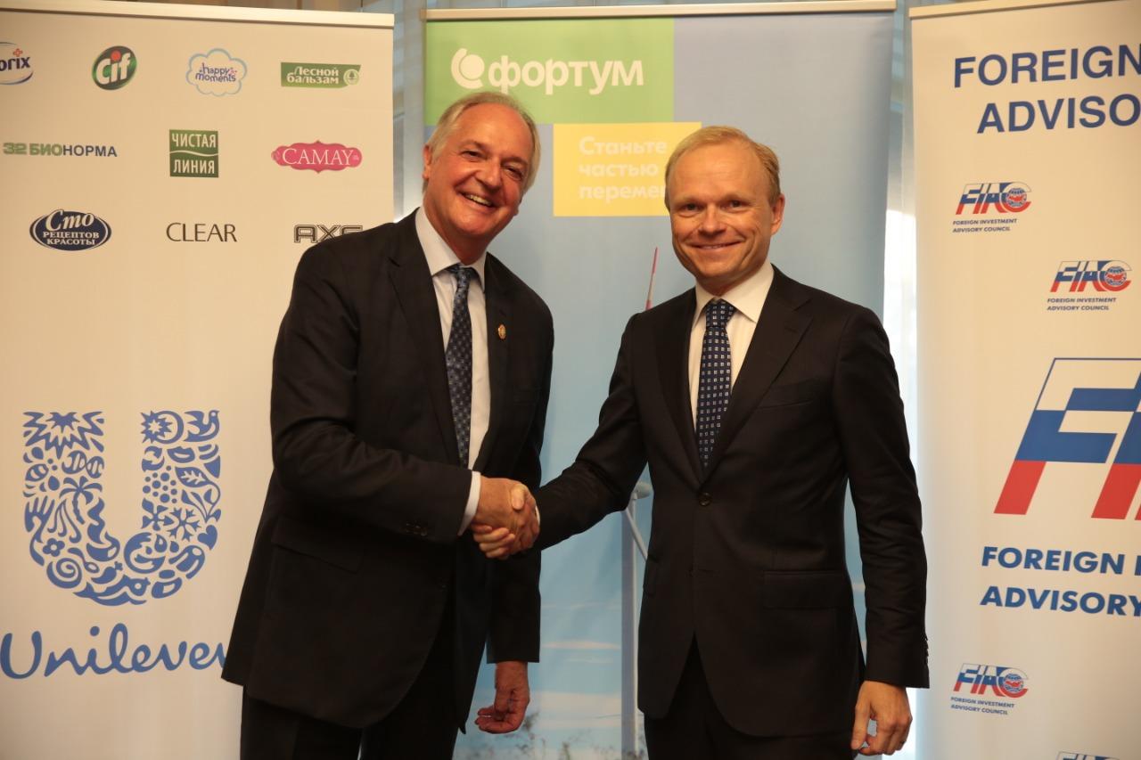 Главное должностное лицо Unilever Пол Полман и Президент и Главный исполнительный директор Корпорации Fortum Пекка Лундмарк.